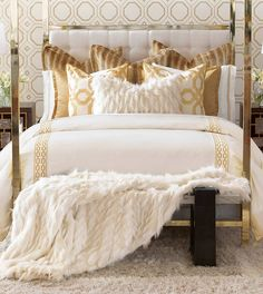 Discover more ways to relax with luxury bedding sets and bedding collections, offering the ultimate in designer style and comfort for your master bedroom or guestroom. Gold Bedroom Decor, Glam Bedroom, Modern Bedroom, Master Bedroom, Bedroom Ideas, Bedroom Inspiration, Bedroom Furniture, Bedroom Neutral, Bedroom Curtains