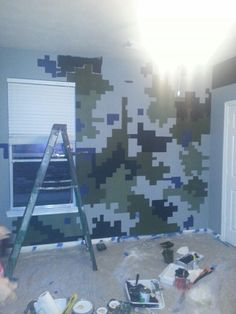 Digital Camo with chalk paint digital squares