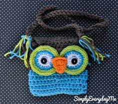 Owl Crochet Little Girl Purse - Brown & Blue.