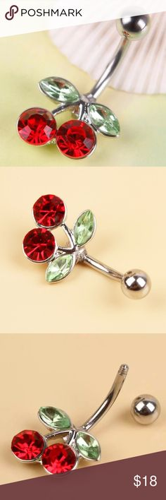 Cherry belly button ring ✌ Gorgeous NEW cherry stainless steel bellybutton ring.✨Check out my other listing for more awesome bohemian items.Bundle and pay only once for shipping, plus get an additional discount!!! The more you bundle, the more you save!  Jewelry Rings
