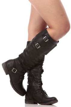 Black Faux Leather Knee High Combat Boots $45.99