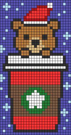 Hama Beads Patterns, Beading Patterns, Cross Stitch Art, Cross Stitch Patterns, Starbucks Art, Cool Pixel Art, Christmas Cross, Christmas 2017, Minecraft Pixel Art