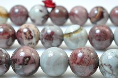 37 pcs of Natural Grass flower Jasper stone smooth round beads in 10mm (05218#)