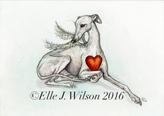 "Whippet print ""The Never Ending Love"" by Elle J. Wilson"