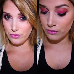 Hot Pink smokey eye and Glossy Lips. {{ @ashleefelkner on insta }} #makeup #MUA #amfmakeup #pinklips #smokeyeye #glossylips #pinkeyeshadow