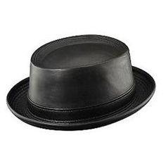 Henschel Black Leather Porkpie Jazz Hat fe7247524c7f
