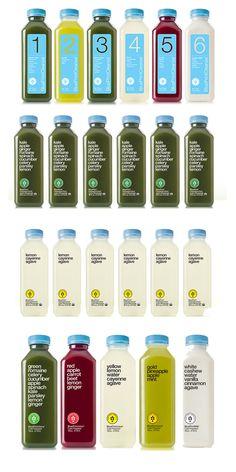 Blueprint Cleanse Juice, Herbal Elixir and Lemonade Bottles.