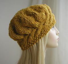 Weekend Cable Beret Tam Hat Knitting Pattern by Julia Marsh on Ravlery Knitting Projects, Crochet Projects, Knit Or Crochet, Crochet Hats, Knitting Patterns, Crochet Patterns, Free Knitted Hat Patterns, Mittens Pattern, Double Pointed Knitting Needles