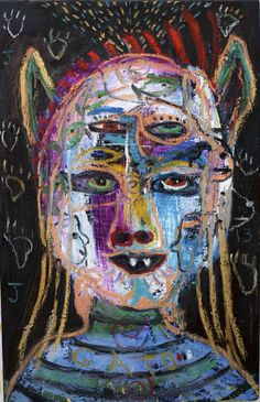 Gato Shape Shifter by New Mexico Artist Kelly Moore #neo-outsider #neo-folk art #flea market artist
