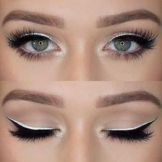 Dale un delineado blanco para darle un look diferente a tu mirada. #Ojos #HouseOfLashes