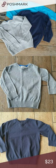 🍁BUNDLE TODDLER SWEATER🍁 🙍3 Children's Place VNeck sweaters 🙍Gray, navy and aqua blue 🙍100% cotton 🙍No rips or stains 🙍Washed inside out 🙍Smoke free home 🙍Price listed is for all 3 Children's Place Shirts & Tops Sweaters