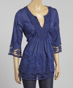 Look what I found on #zulily! Navy Embroidered Notch Neck Tunic by Simply Irresistible #zulilyfinds