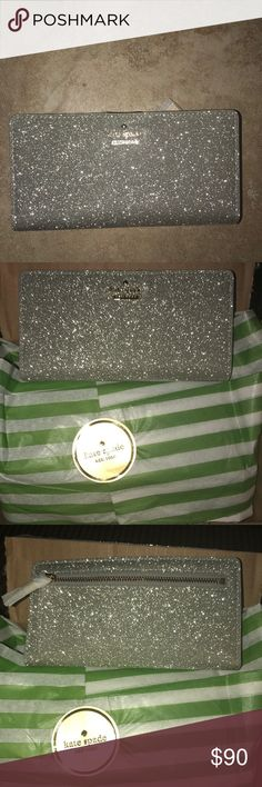 NWT Kate Spade Burgess Court Stacy Wallet👑 Shimmers like a disco ball!! So cute and functional! I ordered one to many for Christmas so it's not even been taken out of the box! kate spade Bags Wallets