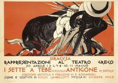 I Sette a Tebe - Antigone (artist: Cambellotti, Duilo) Italy c. Advertising Signs, Vintage Advertisements, Italian Art, Italian Style, Typography Prints, William Morris, Art Deco Fashion, Vintage Posters, Cover Art