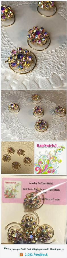 Ballroom Dancing-Swarovski Hair Spins-Clear AB Flower Hair Coils-Spirals-Hair Swirls The perfect hair accessory for ballroom dancers. All you DWTS fans should have your own set. Choose from a myriad of designs and colors at HairSwirls.com or HairSwirls1.com https://www.etsy.com/HairSwirls1/listing/541974328/ballroom-dancing-swarovski-hair-spins?ref=shop_home_active_2
