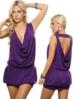 Beautiful Orchid Purple Cowl Neck Pleated Halter « Dress Adds Everyday