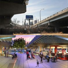 Waterfront Toronto unveiled plans for Underpass Park, the most extensive park to ever be built under an overpass in Canada, and the first in Toronto.