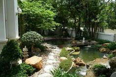 Magnificent mix of garden and pond. Oriental style