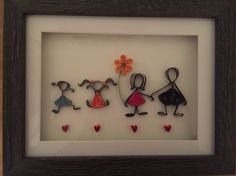 Quilling family gift in box frame