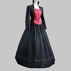 One-Piece/Dress Classic/Traditional Lolita Long Sleeve Cosplay Lolita Dress Black / Pink Patchwork Long Length Coat / Dress For Women Cotton - USD $ 34.19