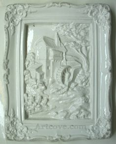 House Waterwheel Frame Plaster Mold 7 x 9 Inch. Here are some Plaster Molds we carry at Artcove.com. Fun, easy to make and affordable. Mix and pour plaster of paris, let harden and paint with acrylic paints.