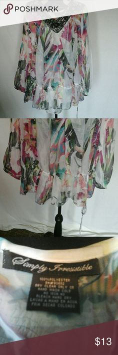 Sexy loose fitting transparent  top ,size 2x Blouse sinches at the waist with a tie, gently used Simply Irresistible  Tops Blouses
