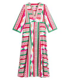$380 Pink caftan featuring a multicolor print throughout. ShopBazaar, shop designer clothing, shoes and accessories selected exclusively by the editors at Harper's Bazaar.
