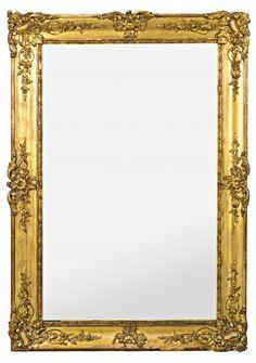 Espejo con marco estilo Imperio época Napoleón III en madera y estuco dorado, del tercer cuarto del siglo XIX