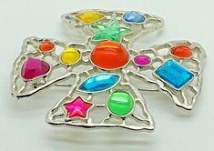 JJ Jonette Large Maltese Cross Brooch Pin Silver Tone Multi Colored Glass  #JJJonette