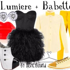 Lumiere the candle holder and Babette the duster inspired couple outfits. Beauty and the Beast