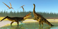 Two Anhanguera reptiles fly above as a Kaprosuchus reptile confronts an Agustinia dinosaur.