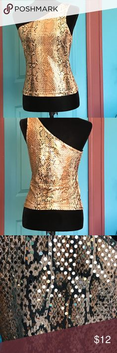 Snake skin, sequined, off the shoulder top Women's, off the shoulder sequined top... size small, gold with sequins, snake skin.... great condition!! Self Esteem Tops Camisoles