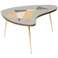 Organic Mid-Century Modern Coffee Table with Brass and Mosaic, Germany, 1950s