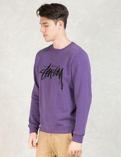 Shop Stussy Purple Stock Emb. Sweater at HBX. Free Worldwide Shipping available.