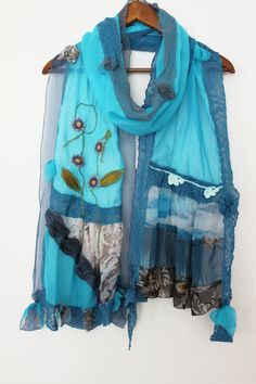 Blue scarf cotton scarf turquoise turquoise by Nazcolleccolors