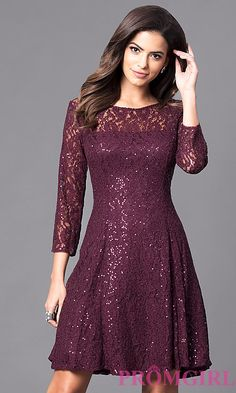 Lace 3/4  Sleeve Dress with Scattered Sequins