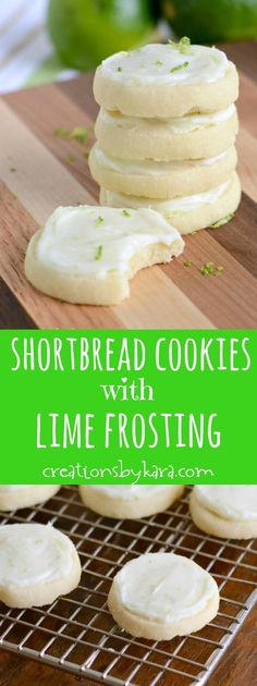 Shortbread Cookies with Lime Cream Cheese Frosting ~ These cookies just melt in your mouth, and the lime frosting is AMAZING! #shortbread #shortbreadcookie #lime #limefrosting