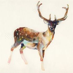Deer with socks: painting. Who doesn't love a pair of striped tube socks--as long as they are on a deer.