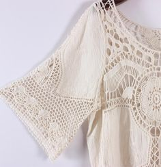 Curiosity Boho Vintage Retro Floral Crochet Embroidery patchwork Linen Symmetrical Knitting for Bikini Cover up Crop tops
