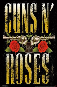 Guns N Roses Domestic Poster, Distressed Stacked Logo With Roses & Pistols Art Inches x 36 Inches), Guns N Roses Logo Domestic Poster, Guns N Roses Posters/Wall Art, Guns N Roses Merchandise Guns And Roses, Images Wallpaper, Rose Wallpaper, Iphone Wallpaper, Wallpapers, Axl Rose, Hard Rock, Rock Band Posters, Barn Wood Frames