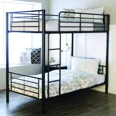 Viv + Rae Malia Twin over Twin Bunk Bed Bed Frame Color: Black Bunk Beds For Boys Room, Adult Bunk Beds, Bed For Girls Room, Bunk Bed With Desk, Bunk Beds With Stairs, Twin Bunk Beds, Kid Beds, Bed Rooms, Loft Beds