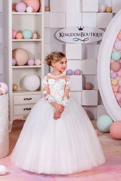 Marfil y Nude encaje vestido de niña de por KingdomBoutiqueUA
