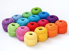 LE PAON Soft 10g Cotton Balls Rainbow Colors of Size 8 Perle/pearl Cotton Threads for Crochet, Hardanger, Cross Stitch, Needlepoint Hand Embroidery. All Different Colors (Suit 8)  LE PAON THREAD- Made from 100% soft cotton, our pack of 16 crochet threads are great quality for lace work projects.This pearl cotton thread balls is soft, silky, does not fluff or kink.  SIZE- Each ball of thread 10g net and gross weight 13 g, 90 meters long, and single Ball size 5 * 5 * 4 cm (all weights an...
