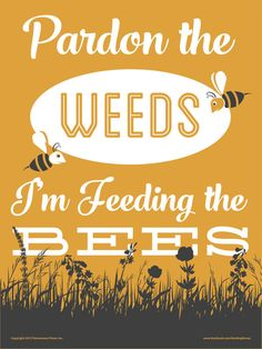 Pardon the Weeds I'm Feeding the Bees [Save the Bees] 9x12 inch Yard Sign