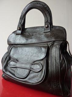 Superbe Sac Bag CABAS Trapeze Cuir Leather Seventies Hippie Noir Vintage VTG 70
