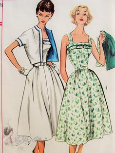 1950s Lovely Sundress and Reversible Jacket Pattern Simple To Make Simplicity 2115 Vintage Sewing Pattern Bust 35 FACTORY FOLDED UNCUT