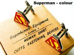 Wedding party Cufflinks set of 6 superheroes - stainless steel – Superheroes Equipment