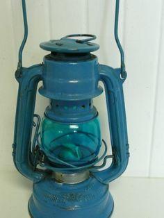 SMALL Vintage Winged Wheel Brand Railroad Style Kerosene Lantern, Blue with Aqua Globe, Made in Japan