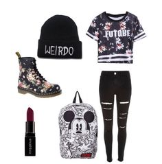 black jeans, lipstick, and mickey mouse Bild