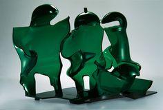Czech Glass Art /// Jan Fišar - Object: Grandpa's Walk - Slumped hollow glass,   cut and polished, metal socle /// czech-glassart.com